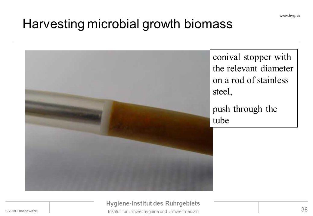 C 2009 Tuschewitzki Hygiene-Institut des Ruhrgebiets Institut für Umwelthygiene und Umweltmedizin www.hyg.de 38 Harvesting microbial growth biomass co