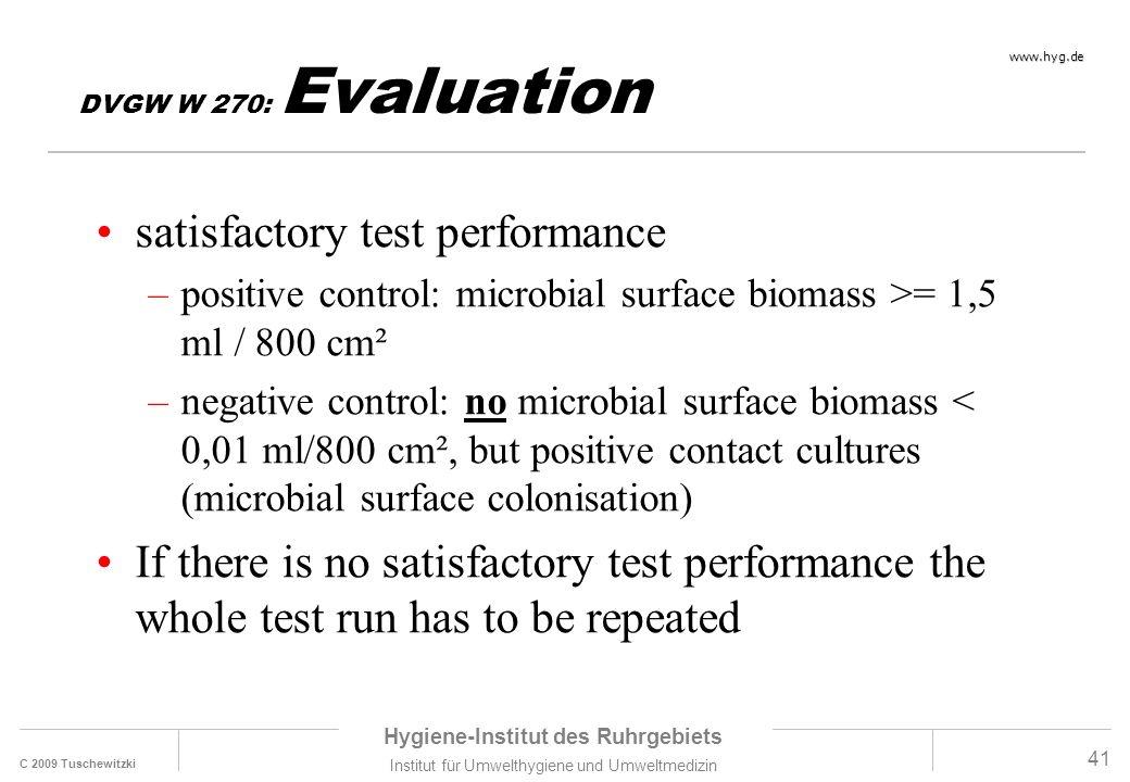 C 2009 Tuschewitzki Hygiene-Institut des Ruhrgebiets Institut für Umwelthygiene und Umweltmedizin www.hyg.de 41 DVGW W 270: Evaluation satisfactory te