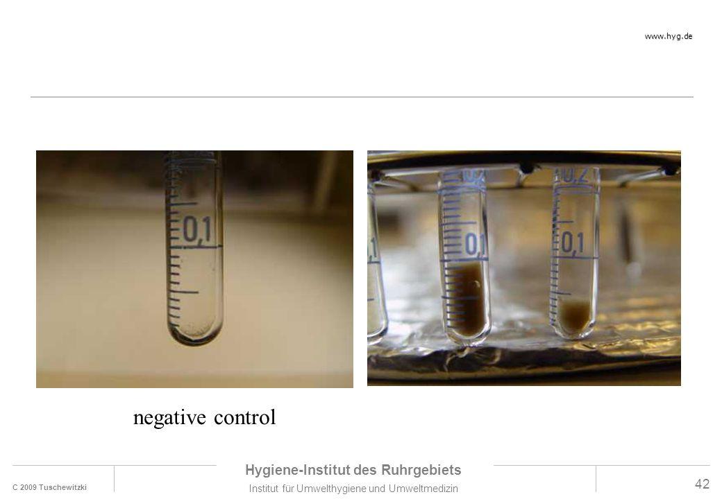 C 2009 Tuschewitzki Hygiene-Institut des Ruhrgebiets Institut für Umwelthygiene und Umweltmedizin www.hyg.de 42 negative control