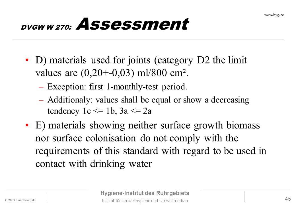 C 2009 Tuschewitzki Hygiene-Institut des Ruhrgebiets Institut für Umwelthygiene und Umweltmedizin www.hyg.de 45 DVGW W 270: Assessment D) materials us