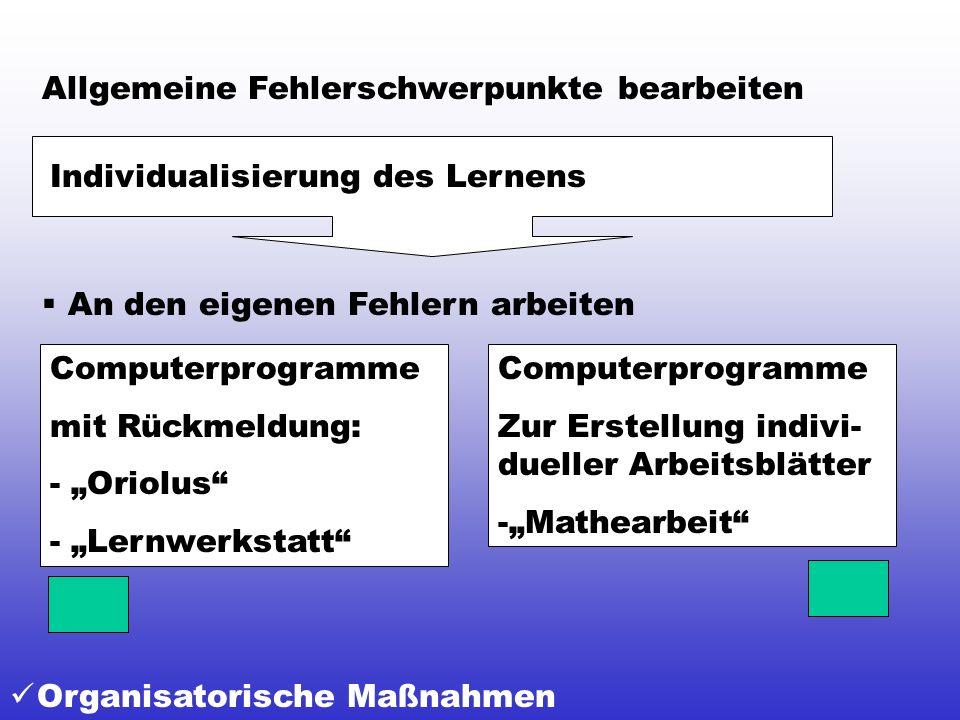 Organisatorische Maßnahmen Allgemeine Fehlerschwerpunkte bearbeiten Individualisierung des Lernens An den eigenen Fehlern arbeiten Computerprogramme Z