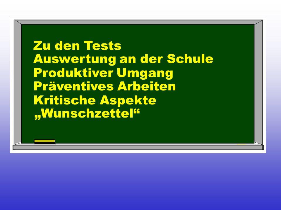 Zu den Tests Auswertung an der Schule Produktiver Umgang Präventives Arbeiten Kritische Aspekte Wunschzettel