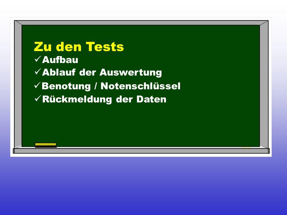 Zu den Tests Aufbau Ablauf der Auswertung Benotung / Notenschlüssel Rückmeldung der Daten