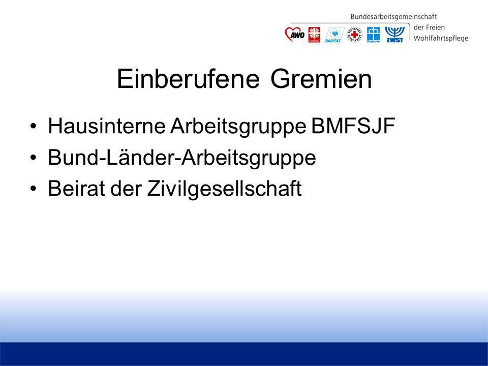 Einberufene Gremien Hausinterne Arbeitsgruppe BMFSJF Bund-Länder-Arbeitsgruppe Beirat der Zivilgesellschaft