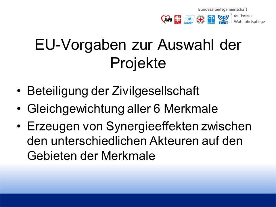 EU-Vorgaben zur Auswahl der Projekte Beteiligung der Zivilgesellschaft Gleichgewichtung aller 6 Merkmale Erzeugen von Synergieeffekten zwischen den unterschiedlichen Akteuren auf den Gebieten der Merkmale