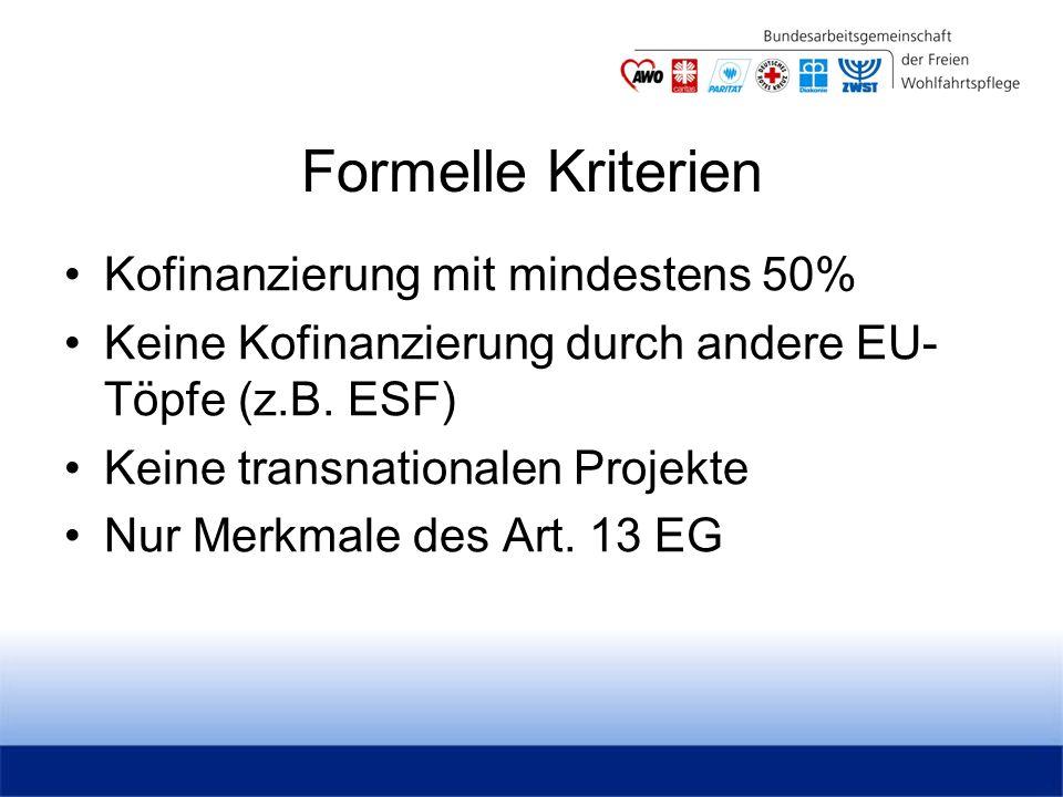 Formelle Kriterien Kofinanzierung mit mindestens 50% Keine Kofinanzierung durch andere EU- Töpfe (z.B.