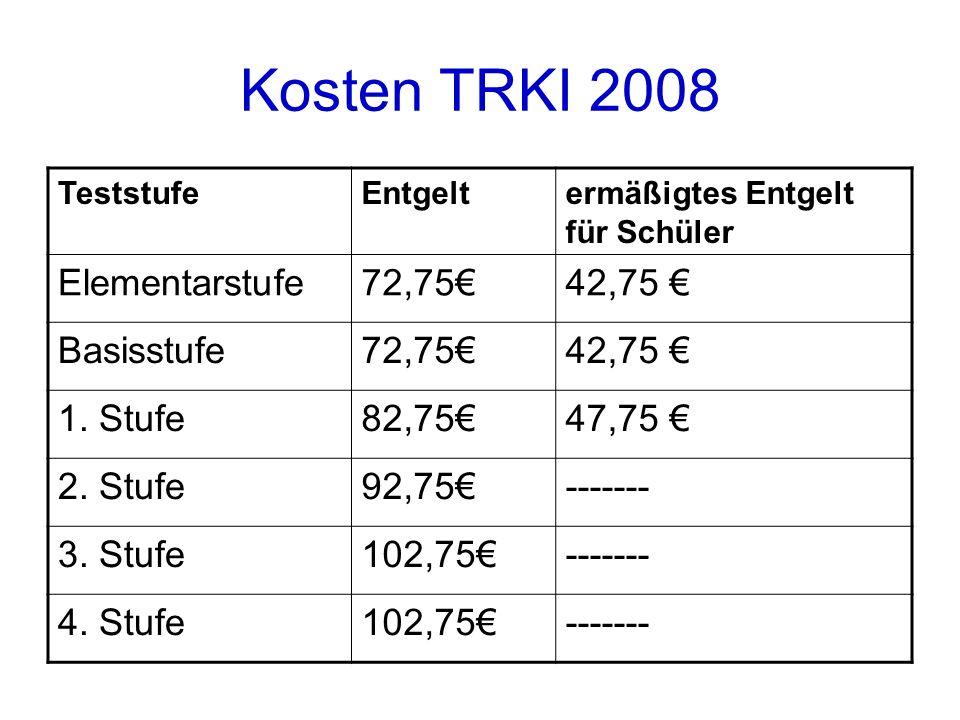 Kosten TRKI 2008 TeststufeEntgeltermäßigtes Entgelt für Schüler Elementarstufe72,7542,75 Basisstufe72,7542,75 1.