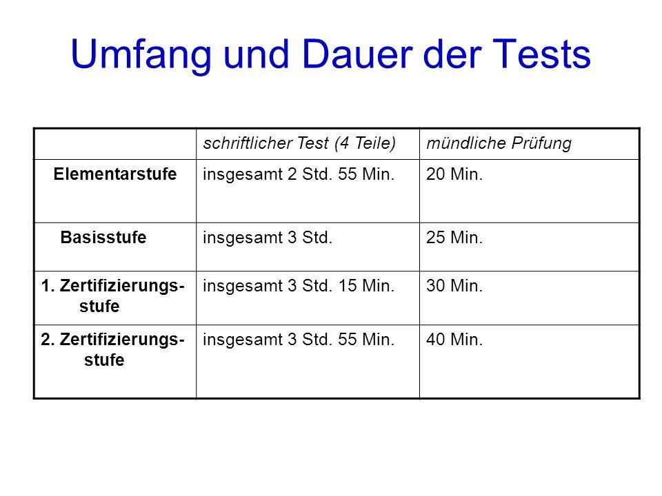 Umfang und Dauer der Tests schriftlicher Test (4 Teile)mündliche Prüfung Elementarstufeinsgesamt 2 Std.