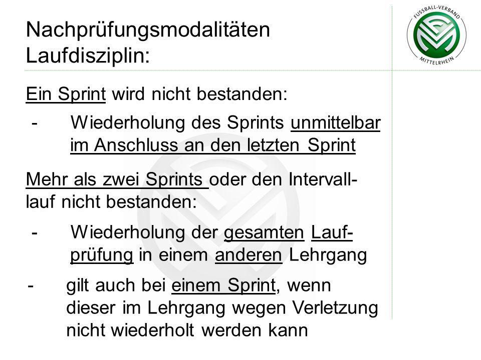 Ein Sprint wird nicht bestanden: Nachprüfungsmodalitäten Laufdisziplin: - Wiederholung des Sprints unmittelbar im Anschluss an den letzten Sprint Mehr