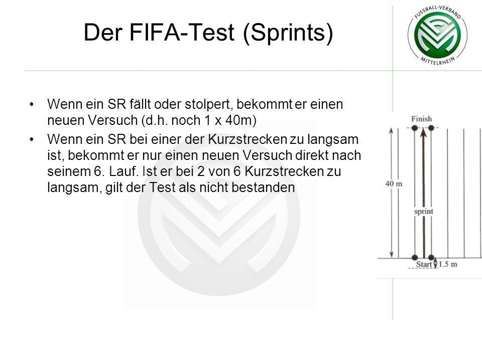 Der FIFA-Test (Sprints) Wenn ein SR fällt oder stolpert, bekommt er einen neuen Versuch (d.h. noch 1 x 40m) Wenn ein SR bei einer der Kurzstrecken zu