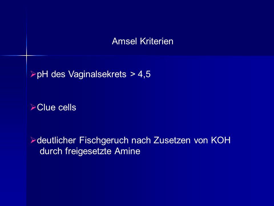 Amsel Kriterien pH des Vaginalsekrets > 4,5 Clue cells deutlicher Fischgeruch nach Zusetzen von KOH durch freigesetzte Amine