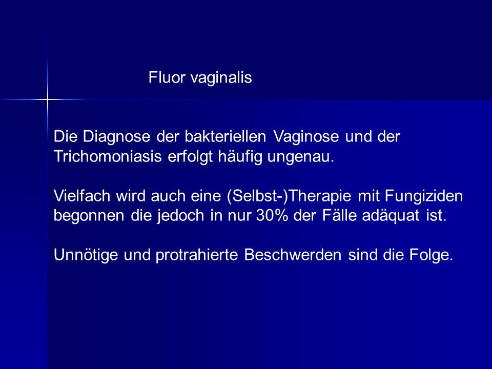 Fluor vaginalis Die Diagnose der bakteriellen Vaginose und der Trichomoniasis erfolgt häufig ungenau. Vielfach wird auch eine (Selbst-)Therapie mit Fu