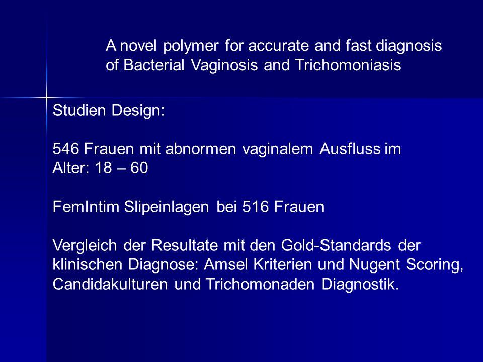 Studien Design: 546 Frauen mit abnormen vaginalem Ausfluss im Alter: 18 – 60 FemIntim Slipeinlagen bei 516 Frauen Vergleich der Resultate mit den Gold