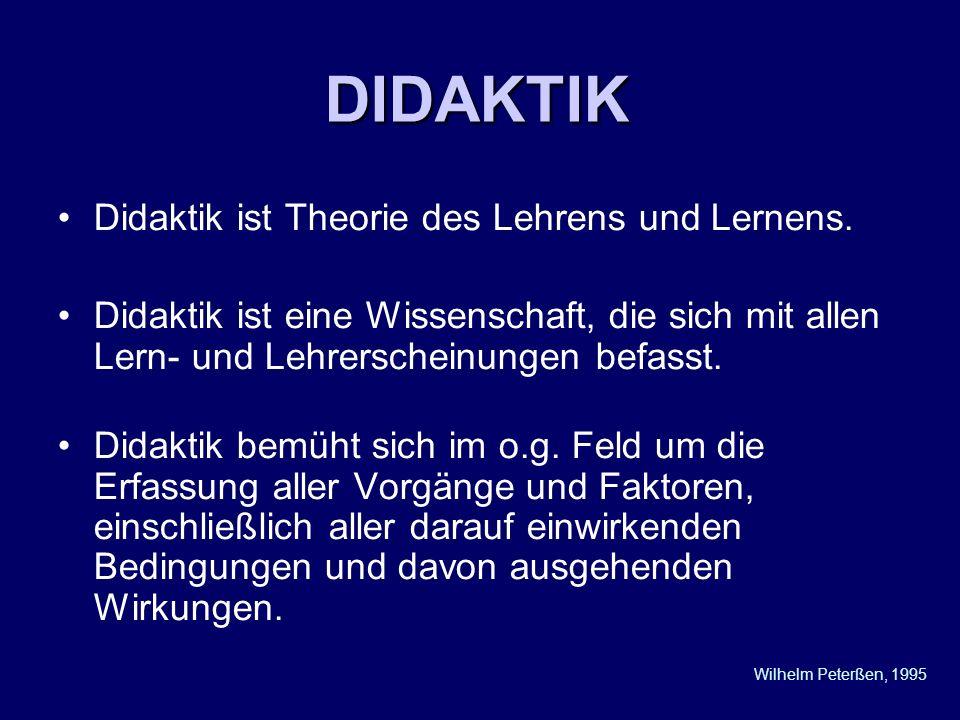 DIDAKTIK Didaktik ist Theorie des Lehrens und Lernens. Didaktik ist eine Wissenschaft, die sich mit allen Lern- und Lehrerscheinungen befasst. Didakti
