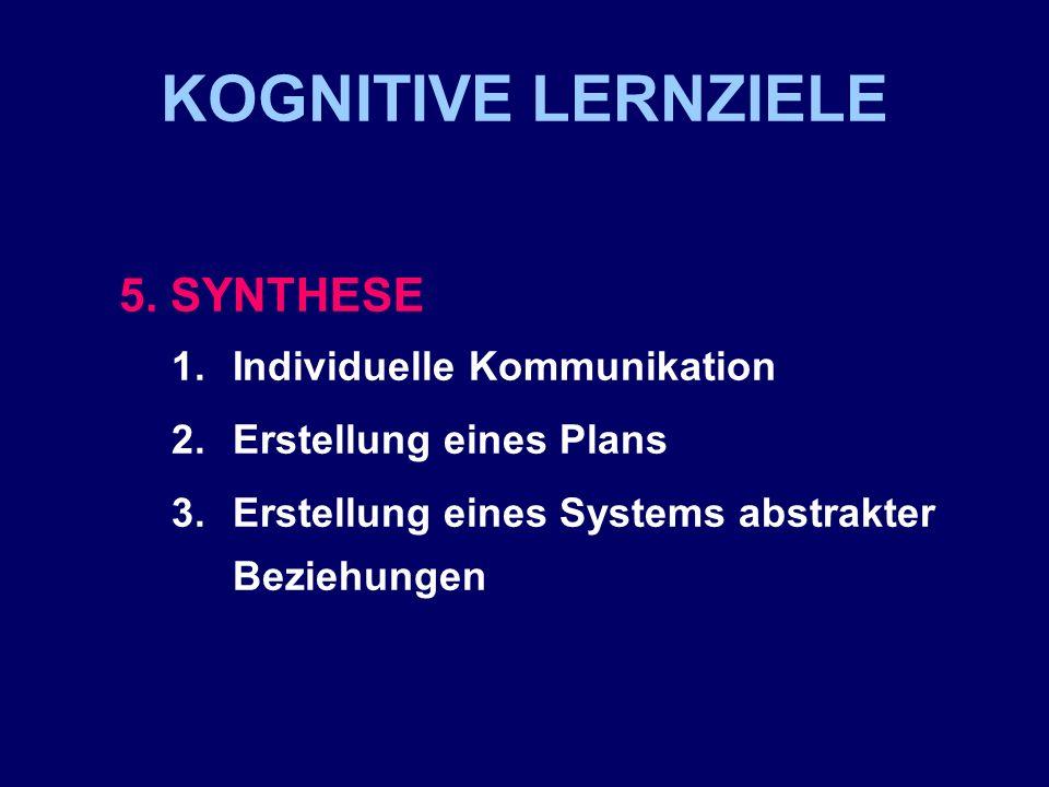 KOGNITIVE LERNZIELE 5. SYNTHESE 1.Individuelle Kommunikation 2.Erstellung eines Plans 3.Erstellung eines Systems abstrakter Beziehungen