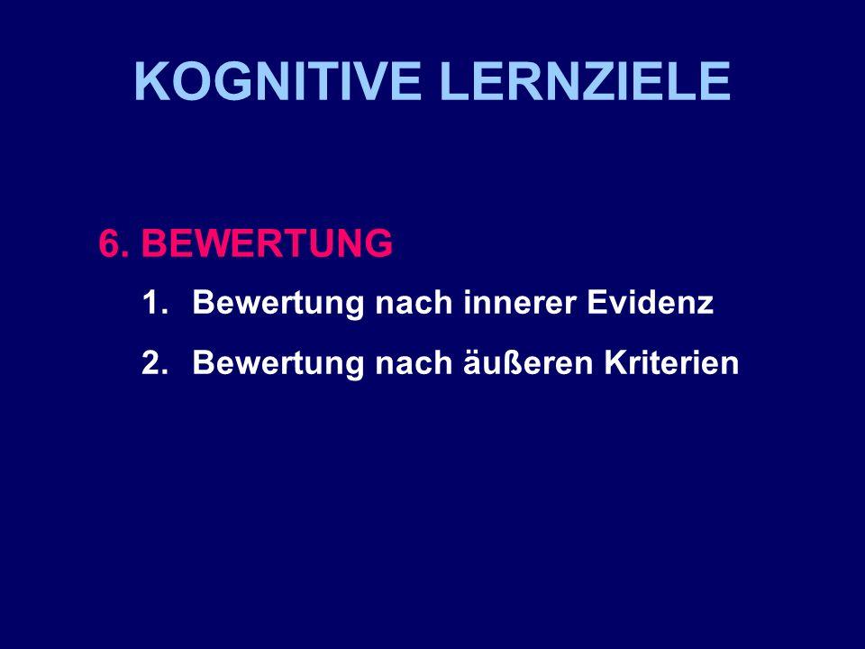 KOGNITIVE LERNZIELE 6. BEWERTUNG 1.Bewertung nach innerer Evidenz 2.Bewertung nach äußeren Kriterien