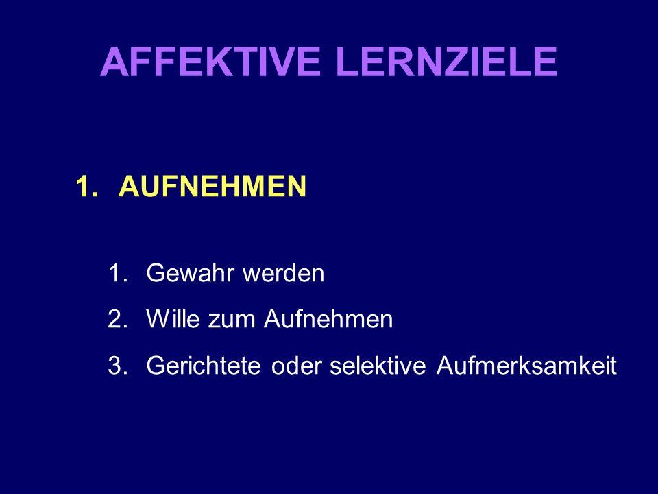 AFFEKTIVE LERNZIELE 1.AUFNEHMEN 1.Gewahr werden 2.Wille zum Aufnehmen 3.Gerichtete oder selektive Aufmerksamkeit