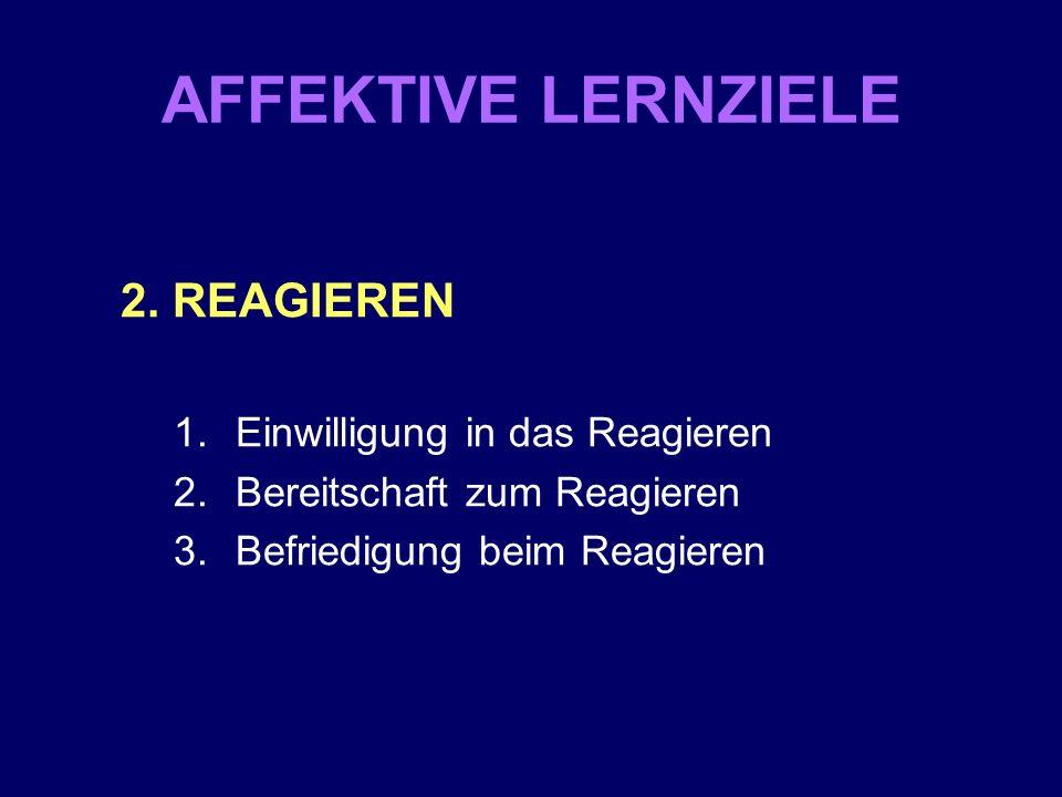 AFFEKTIVE LERNZIELE 2. REAGIEREN 1.Einwilligung in das Reagieren 2.Bereitschaft zum Reagieren 3.Befriedigung beim Reagieren
