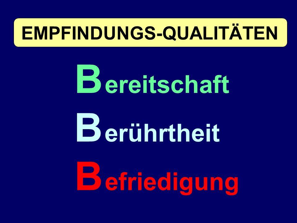 B ereitschaft B erührtheit B efriedigung EMPFINDUNGS-QUALITÄTEN
