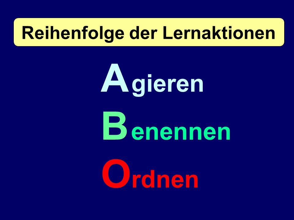 A gieren B enennen O rdnen Reihenfolge der Lernaktionen