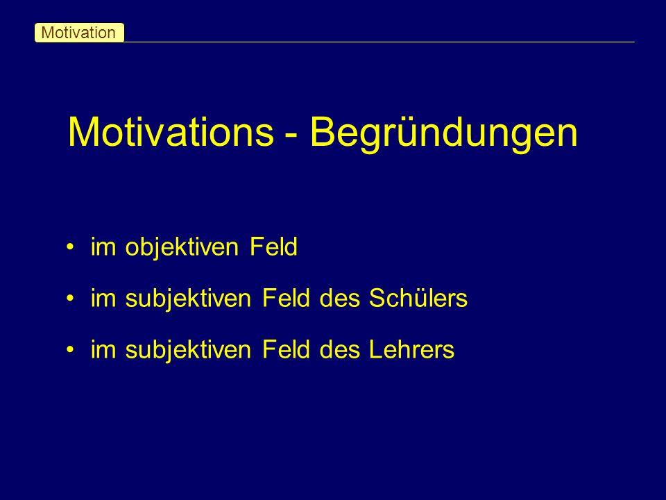 Motivations - Begründungen Motivation im objektiven Feld im subjektiven Feld des Schülers im subjektiven Feld des Lehrers