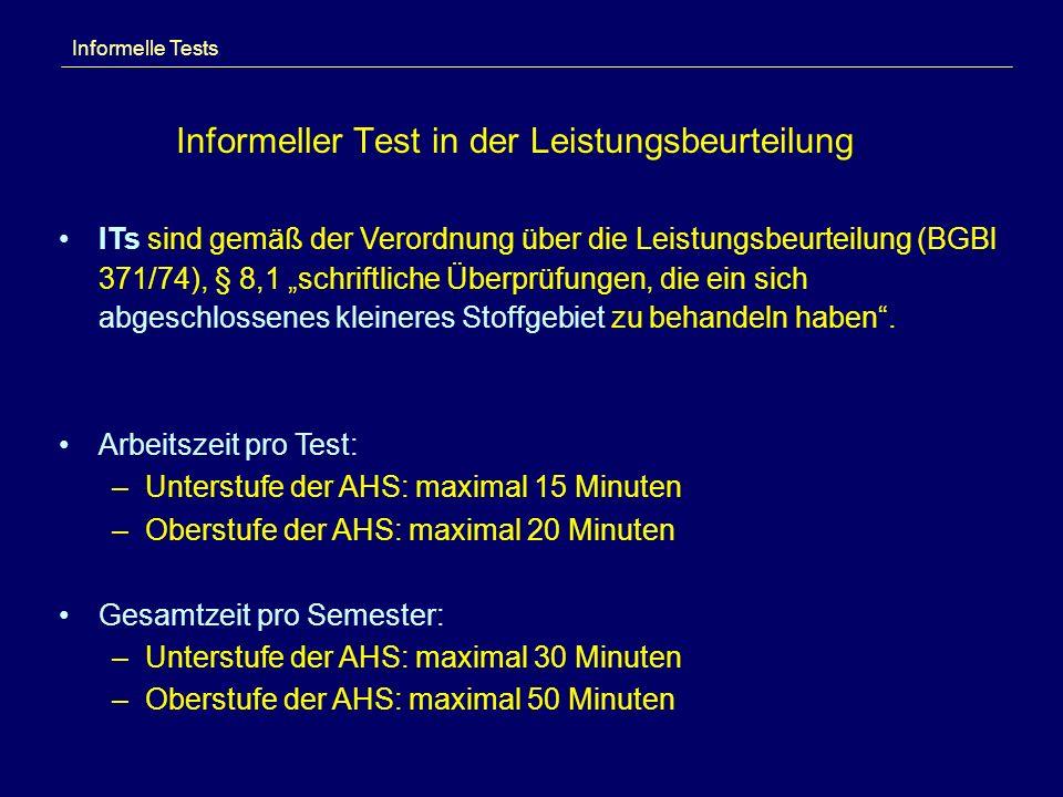Informeller Test in der Leistungsbeurteilung Informelle Tests ITs sind gemäß der Verordnung über die Leistungsbeurteilung (BGBl 371/74), § 8,1 schriftliche Überprüfungen, die ein sich abgeschlossenes kleineres Stoffgebiet zu behandeln haben.