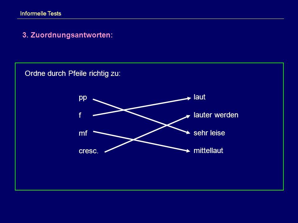 Informelle Tests 3. Zuordnungsantworten: Ordne durch Pfeile richtig zu: pp f mf cresc. laut lauter werden sehr leise mittellaut
