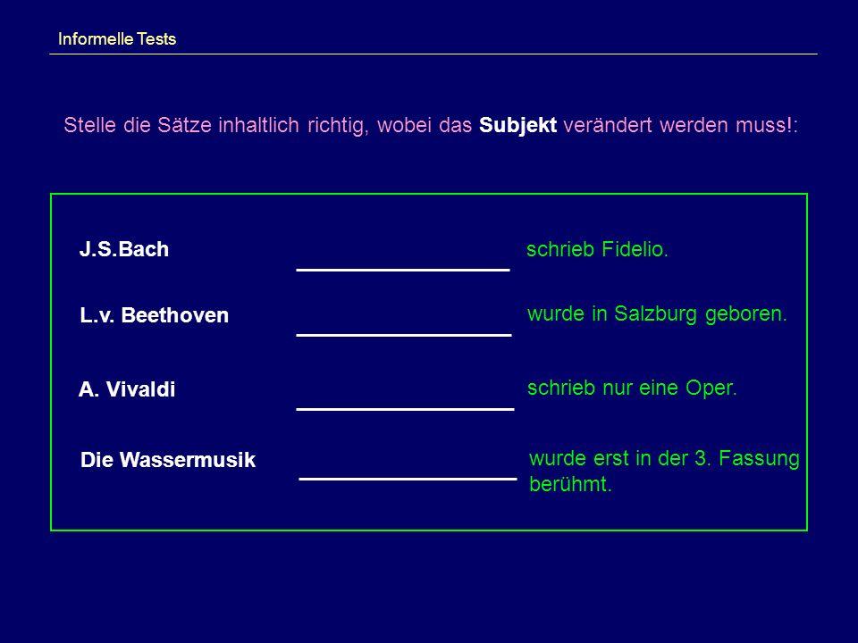 Informelle Tests Stelle die Sätze inhaltlich richtig, wobei das Subjekt verändert werden muss!: schrieb Fidelio. wurde in Salzburg geboren. schrieb nu