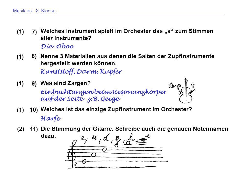 Musiktest 3. Klasse Welches Instrument spielt im Orchester das a zum Stimmen aller Instrumente? 7) (1) Die Oboe Nenne 3 Materialien aus denen die Sait