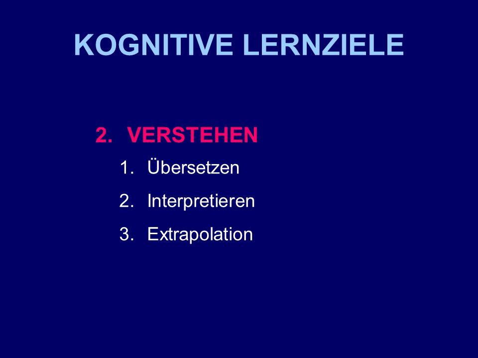 KOGNITIVE LERNZIELE 3. ANWENDUNG