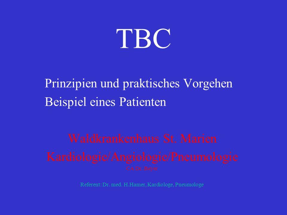 spezifisch: charakteristischer Verlauf Primärinfekt - klinisch: Initialfieber, Erythema nodosum, Initialrheumatoid - Infiltrat - Hiluslymphknotenvergrößerung einseitig - Primärkomplex postprimäre Tbc - alles andere Begriffe: