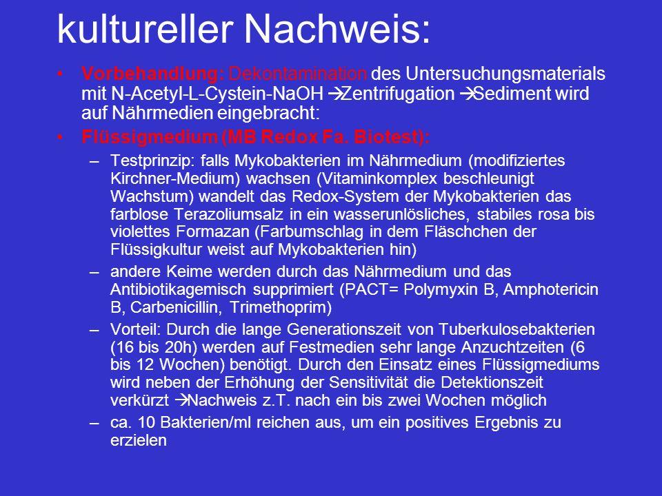 kultureller Nachweis: Vorbehandlung: Dekontamination des Untersuchungsmaterials mit N-Acetyl-L-Cystein-NaOH Zentrifugation Sediment wird auf Nährmedie