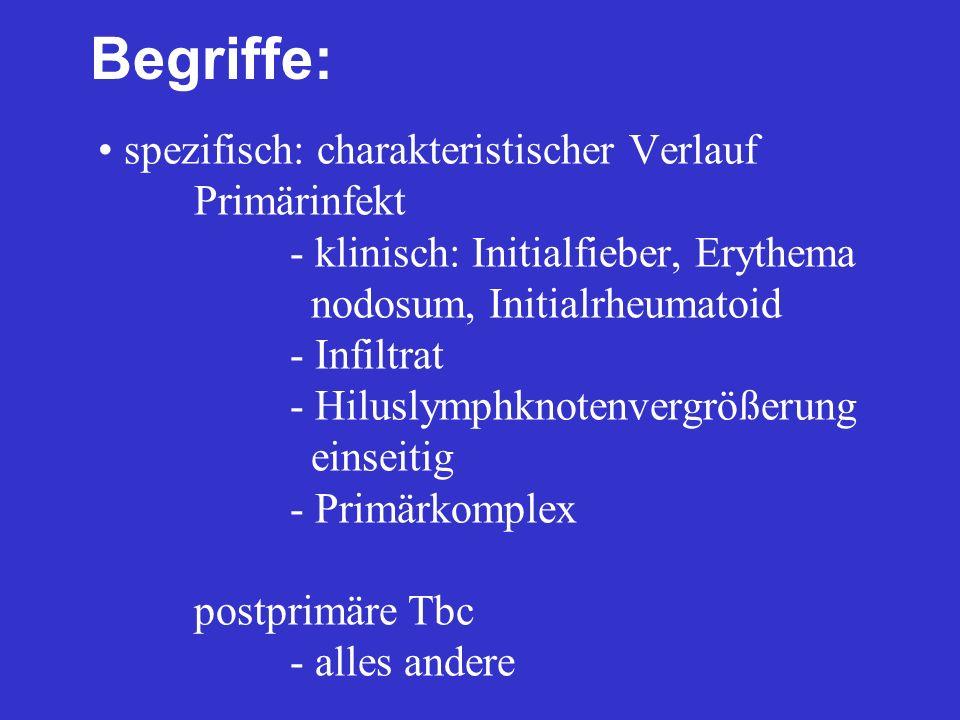 spezifisch: charakteristischer Verlauf Primärinfekt - klinisch: Initialfieber, Erythema nodosum, Initialrheumatoid - Infiltrat - Hiluslymphknotenvergr