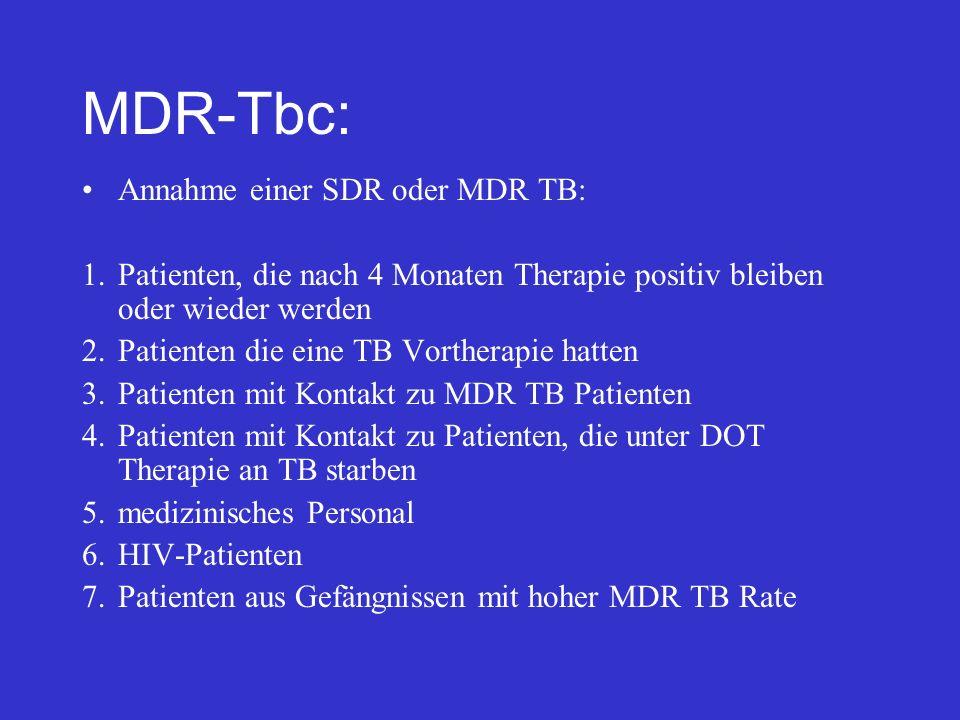 MDR-Tbc: Annahme einer SDR oder MDR TB: 1.Patienten, die nach 4 Monaten Therapie positiv bleiben oder wieder werden 2.Patienten die eine TB Vortherapi