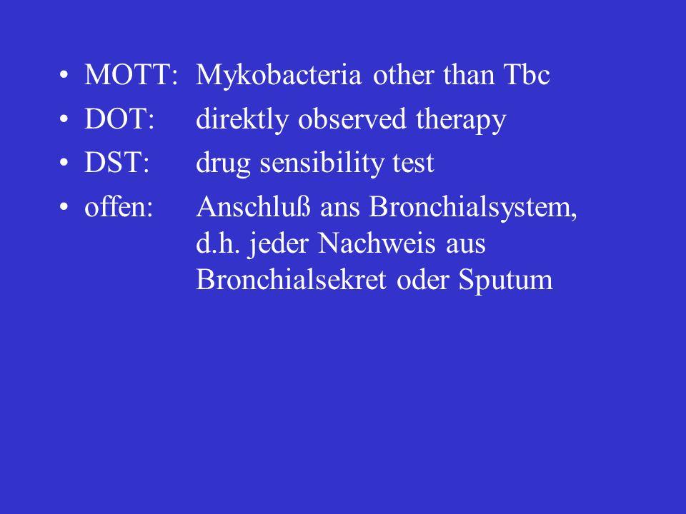 C bei vermuteter oder nachgewiesener SDR / MDR TB: Beginn bei allen Patienten sofort, schon bevor DST basierend auf der Patientenanamnese (Vortherapie, Kontakt mit TB Patienten und deren Therapie) es können auch nur Zweitlinienmedikamente eingesetzt werden, first-line Medikamente sollten bei Sensibilität immer verwandt werden in der Regel 5 – 7 verschiedene Medikamente, mit dem Ziel einer hohen Wahrscheinlichkeit für mindestens 4 wirksame Substanzen Regime: A) bei wenig Wahrscheinlichkeit für MDR TB: H – R – E – Z + CM (oder KM) – FQ - Ethio (oder CS) B) bei mehrheitlich MDR TB: E – Z + CM (oder KM) – FQ – Ethio – CS - evtl.