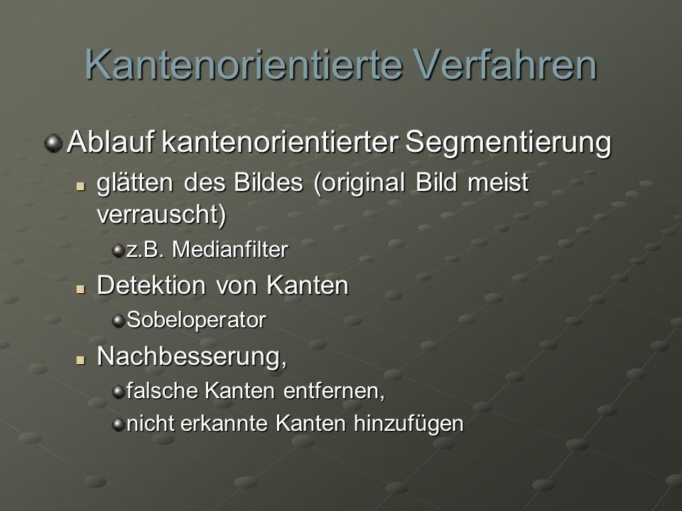 Kantenorientierte Verfahren Ablauf kantenorientierter Segmentierung glätten des Bildes (original Bild meist verrauscht) glätten des Bildes (original B