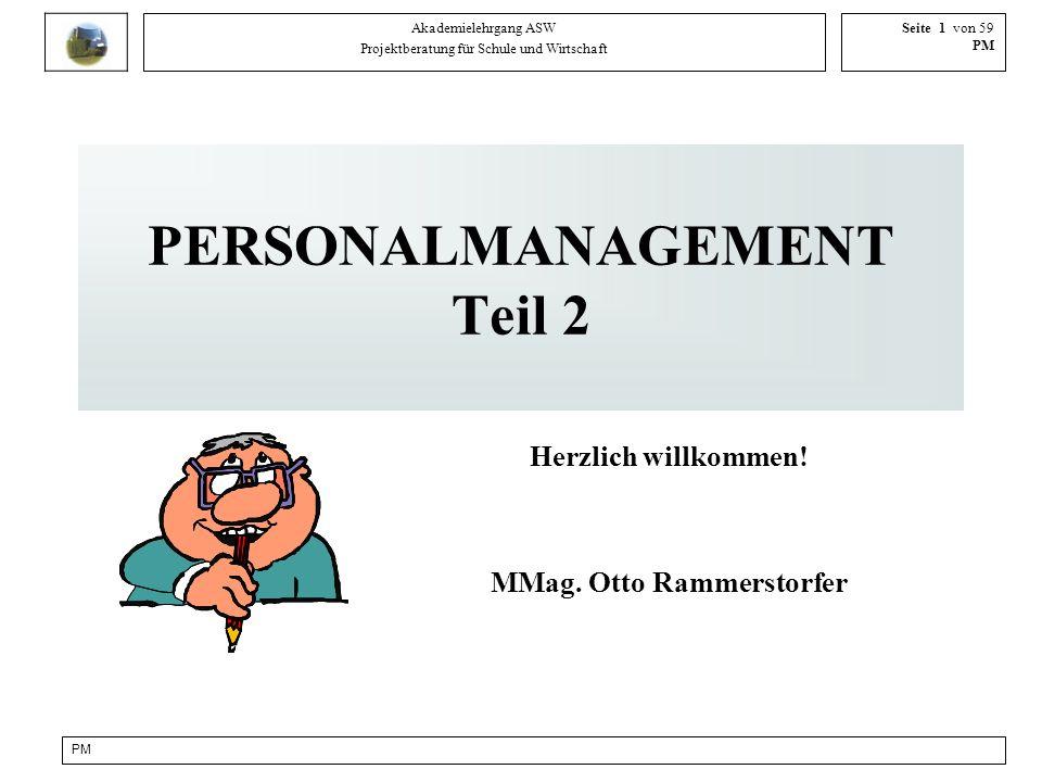 PM Akademielehrgang ASW Projektberatung für Schule und Wirtschaft Seite 1 von 59 PM PERSONALMANAGEMENT Teil 2 Herzlich willkommen! MMag. Otto Rammerst