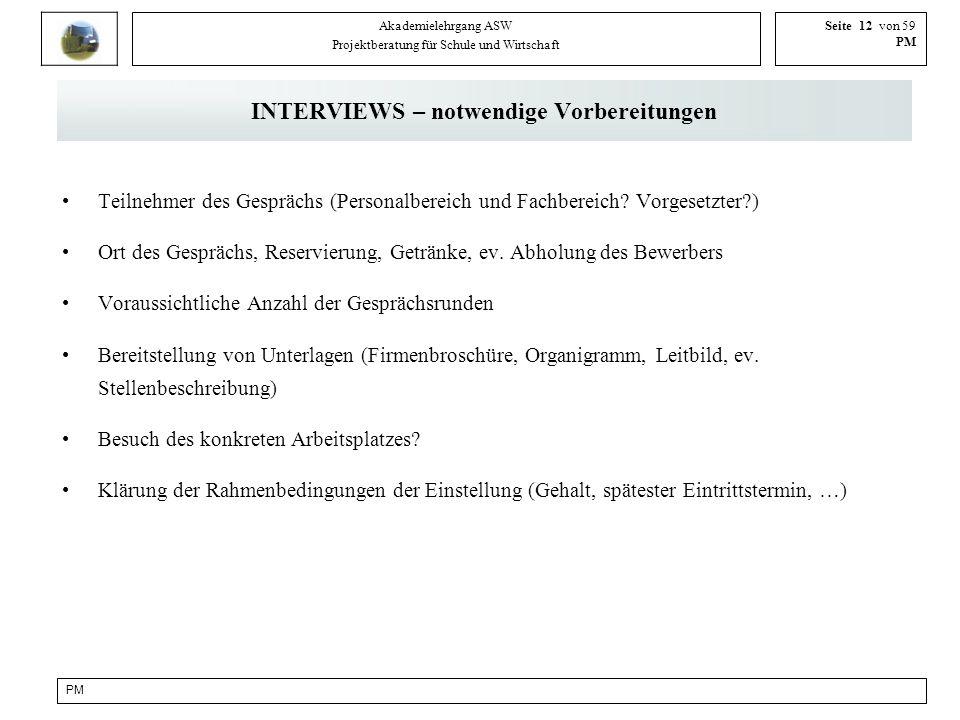 PM Akademielehrgang ASW Projektberatung für Schule und Wirtschaft Seite 12 von 59 PM INTERVIEWS – notwendige Vorbereitungen Teilnehmer des Gesprächs (