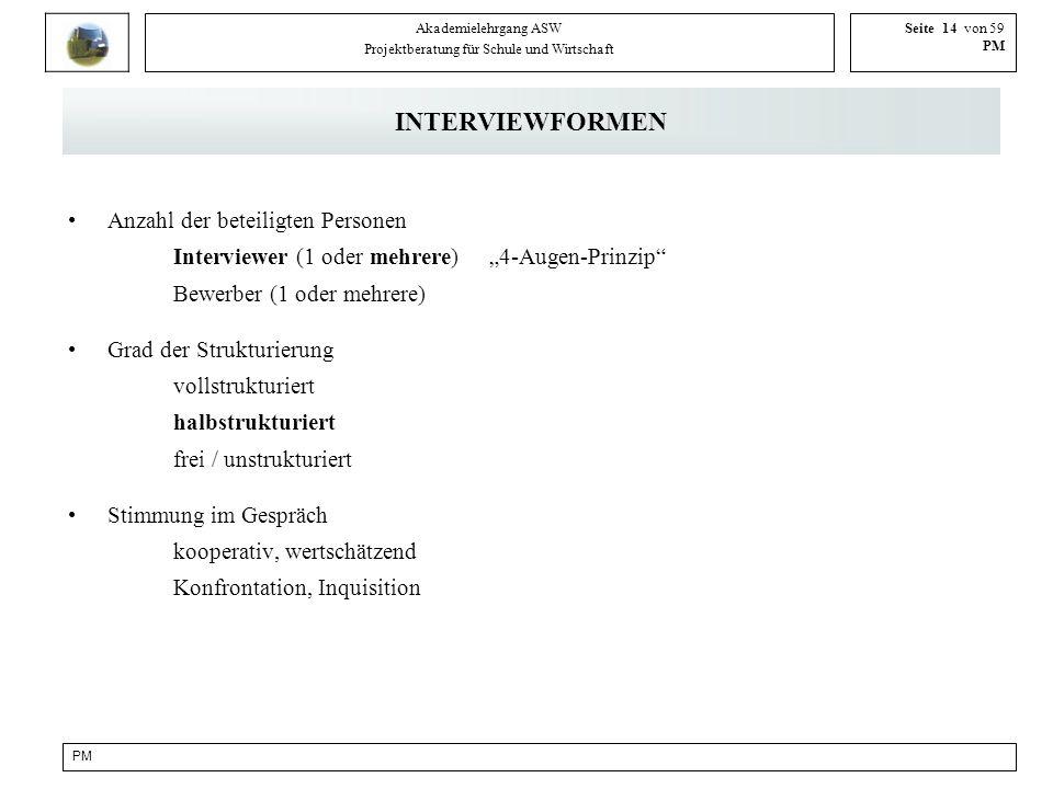 PM Akademielehrgang ASW Projektberatung für Schule und Wirtschaft Seite 14 von 59 PM INTERVIEWFORMEN Anzahl der beteiligten Personen Interviewer (1 od