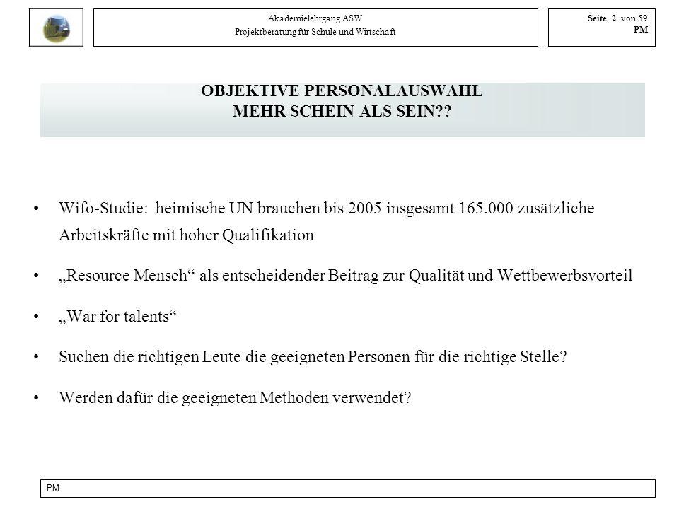 PM Akademielehrgang ASW Projektberatung für Schule und Wirtschaft Seite 3 von 59 PM OBJEKTIVITÄT gibt es nicht!.