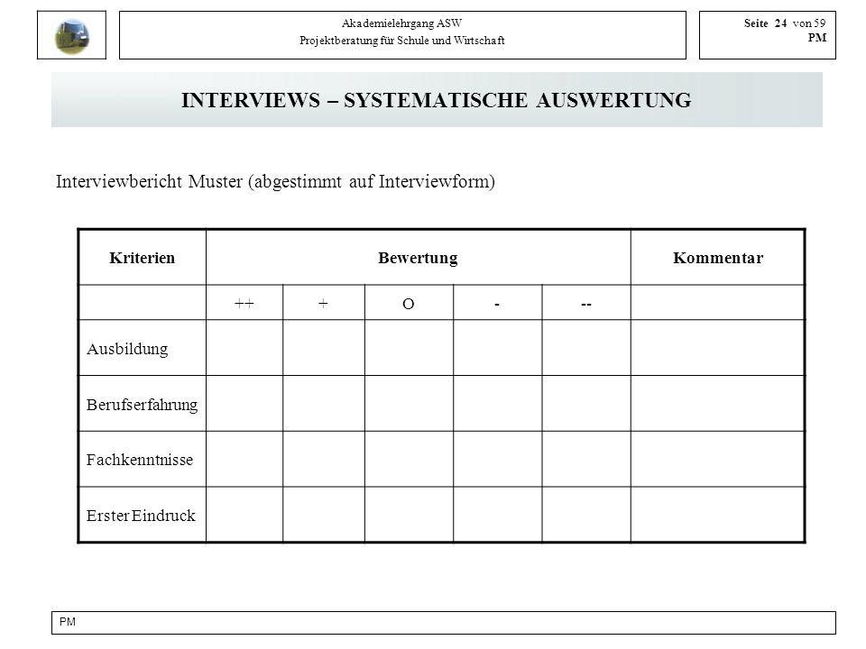 PM Akademielehrgang ASW Projektberatung für Schule und Wirtschaft Seite 24 von 59 PM INTERVIEWS – SYSTEMATISCHE AUSWERTUNG Interviewbericht Muster (ab