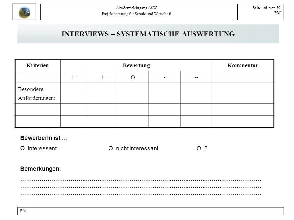 PM Akademielehrgang ASW Projektberatung für Schule und Wirtschaft Seite 26 von 59 PM INTERVIEWS – SYSTEMATISCHE AUSWERTUNG KriterienBewertungKommentar