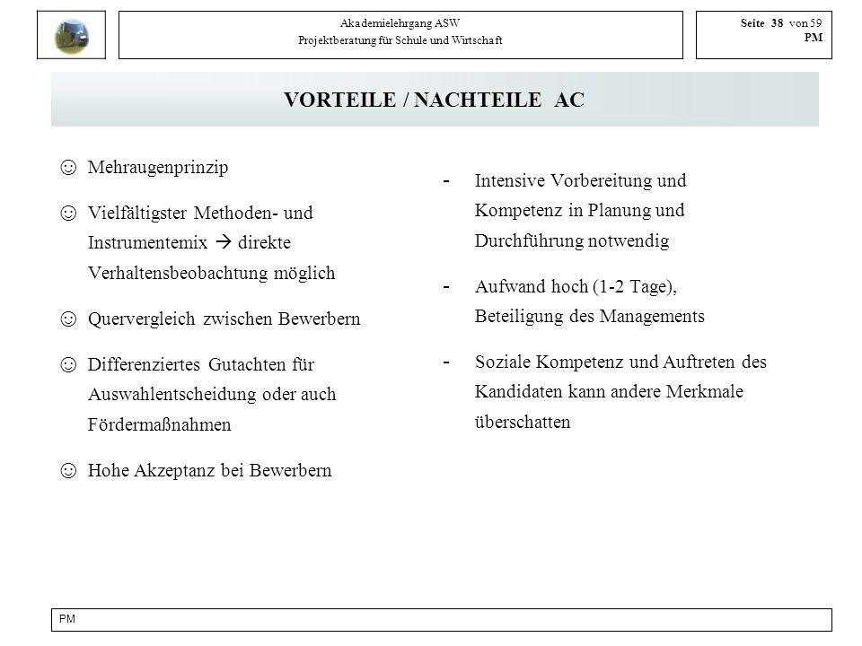 PM Akademielehrgang ASW Projektberatung für Schule und Wirtschaft Seite 38 von 59 PM VORTEILE / NACHTEILE AC Mehraugenprinzip Vielfältigster Methoden-