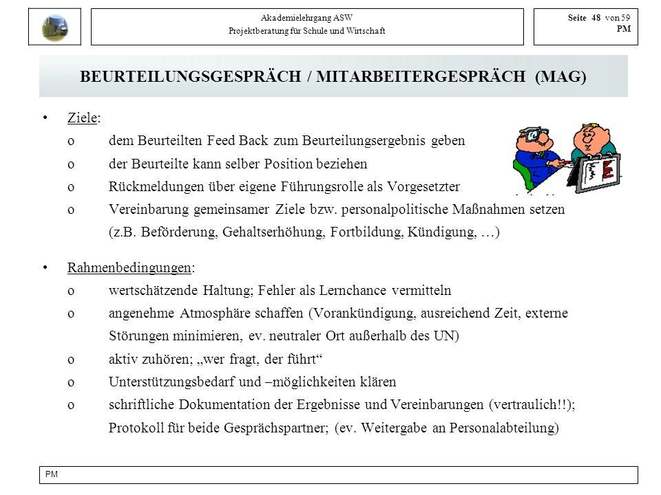 PM Akademielehrgang ASW Projektberatung für Schule und Wirtschaft Seite 48 von 59 PM BEURTEILUNGSGESPRÄCH / MITARBEITERGESPRÄCH (MAG) Ziele: odem Beur