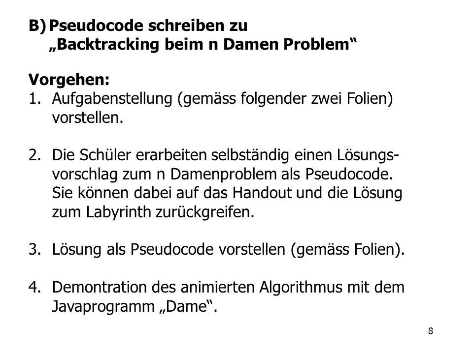 8 B)Pseudocode schreiben zu Backtracking beim n Damen Problem Vorgehen: 1.Aufgabenstellung (gemäss folgender zwei Folien) vorstellen. 2.Die Schüler er