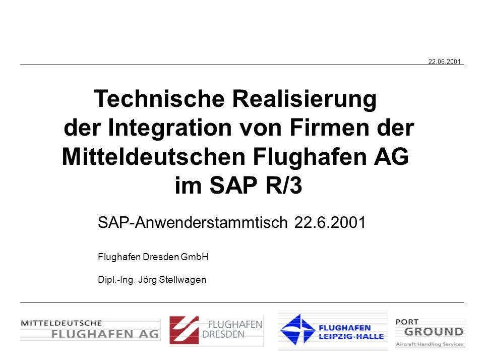 22.06.2001 Technische Realisierung der Integration von Firmen der Mitteldeutschen Flughafen AG im SAP R/3 SAP-Anwenderstammtisch 22.6.2001 Flughafen D