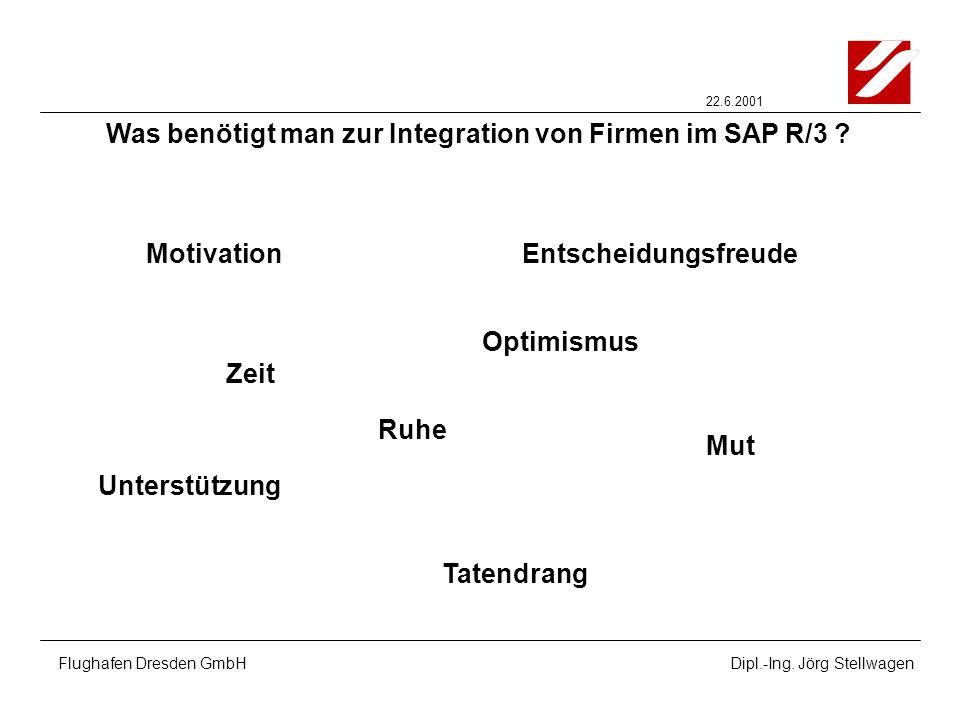 22.6.2001 Flughafen Dresden GmbHDipl.-Ing. Jörg Stellwagen Was benötigt man zur Integration von Firmen im SAP R/3 ? Motivation Zeit Mut Unterstützung