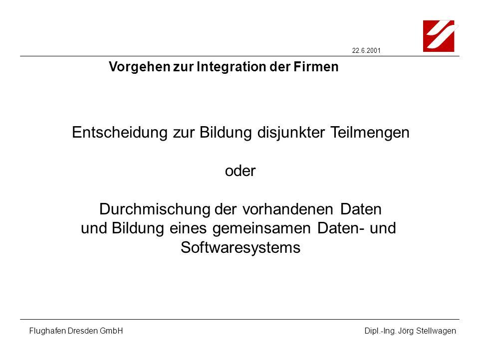 22.6.2001 Flughafen Dresden GmbHDipl.-Ing. Jörg Stellwagen Entscheidung zur Bildung disjunkter Teilmengen oder Durchmischung der vorhandenen Daten und