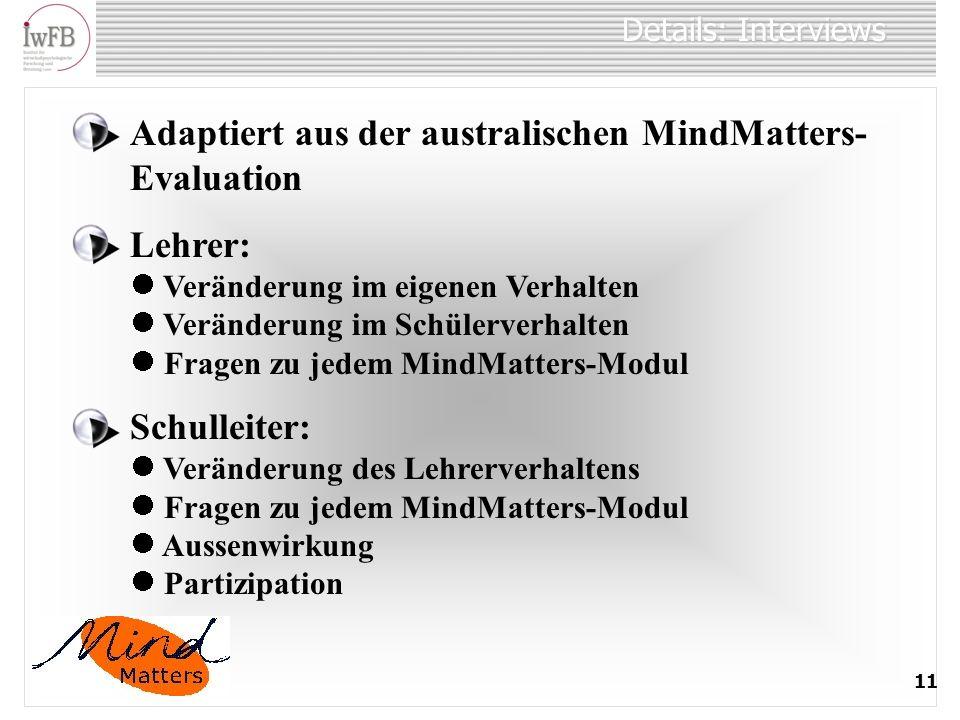 Details: Interviews 11 Adaptiert aus der australischen MindMatters- Evaluation Lehrer: Veränderung im eigenen Verhalten Veränderung im Schülerverhalte
