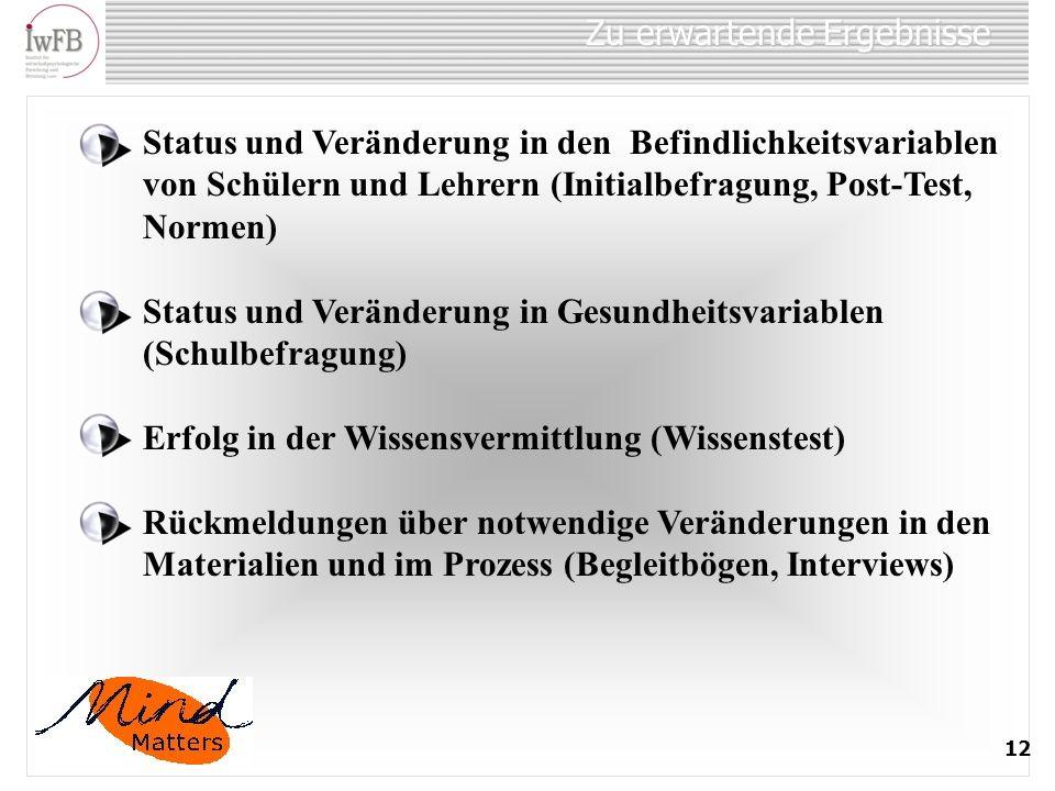 Zu erwartende Ergebnisse 12 Status und Veränderung in den Befindlichkeitsvariablen von Schülern und Lehrern (Initialbefragung, Post-Test, Normen) Stat